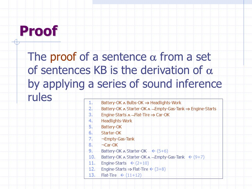 Proof The proof of a sentence  from a set of sentences KB is the derivation of  by applying a series of sound inference rules