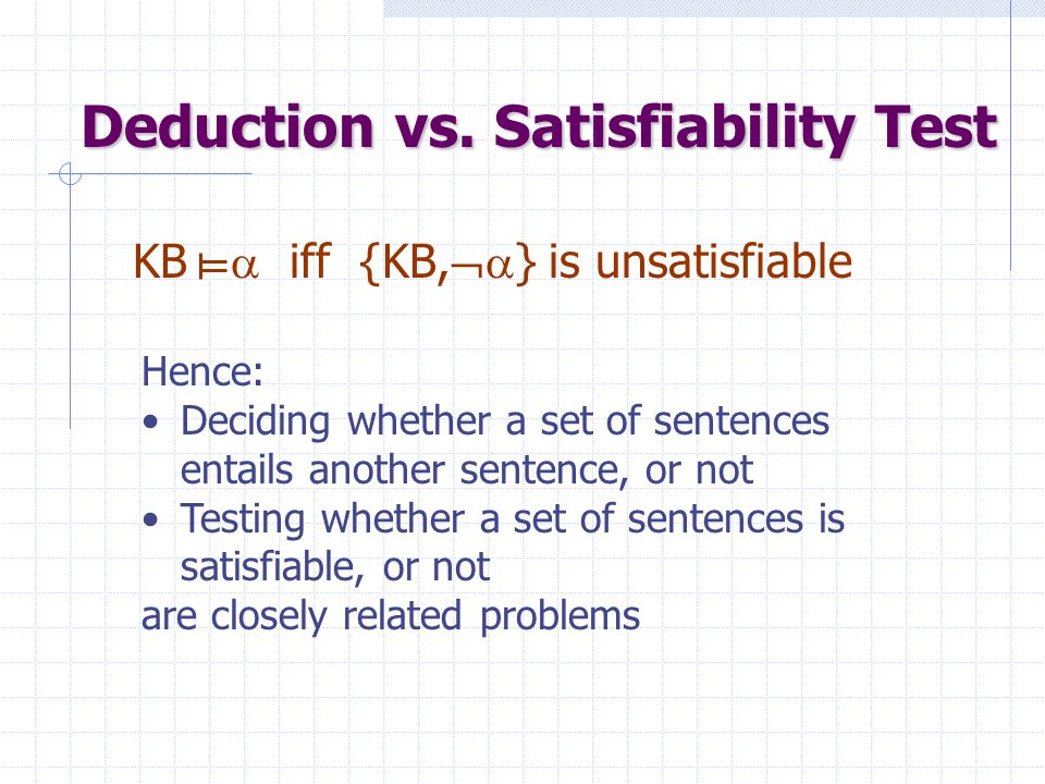 Inference Problem Given: KB: a set of sentence  : a sentence Answer: KB  ?