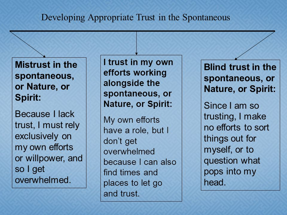 Mistrust in the spontaneous, or Nature, or Spirit: Because I lack trust, I must rely exclusively on my own efforts or willpower, and so I get overwhelmed.