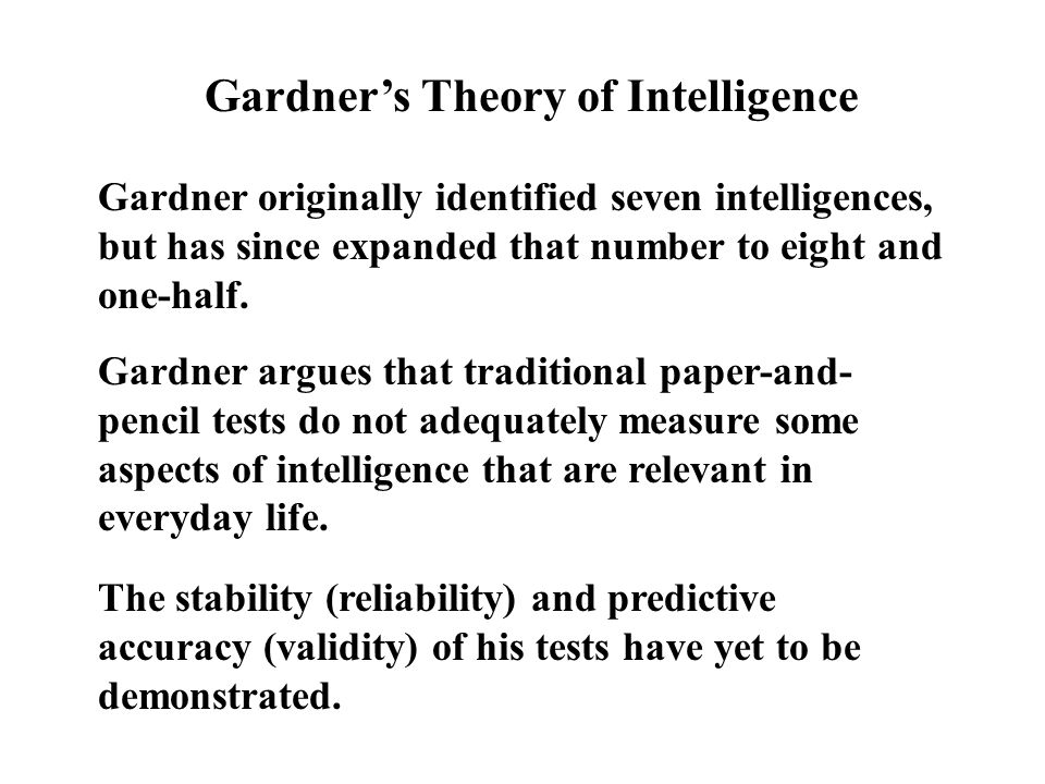 Gardner's Theory of Intelligence Linguistic Intelligence Core element: Ability to make a rapid conversion from a physical representation of stimuli (i.e., letters and/or other verbal symbols) to higher-level codes; ability to manipulate information in activated memory