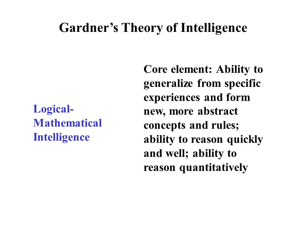 Gardner's Theory of Intelligence Spatial Intelligence Core element: Ability to visualize and mentally rotate a stimulus or stimulus array