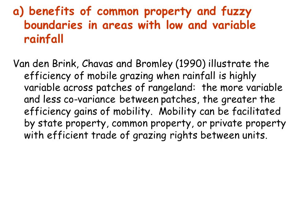 a) benefits of common property and fuzzy boundaries in areas with low and variable rainfall Van den Brink, Chavas and Bromley (1990) illustrate the efficiency of mobile grazing when rainfall is highly variable across patches of rangeland: the more variable and less co-variance between patches, the greater the efficiency gains of mobility.