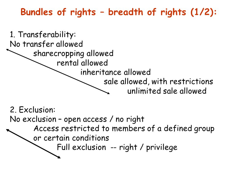Bundles of rights (2/2): 3.Use and management rights: No right -- privilege non-destructive collection seasonal cultivation & grazing right to determine withdrawal levels right to transform/enhance (eg planting trees) right to destroy