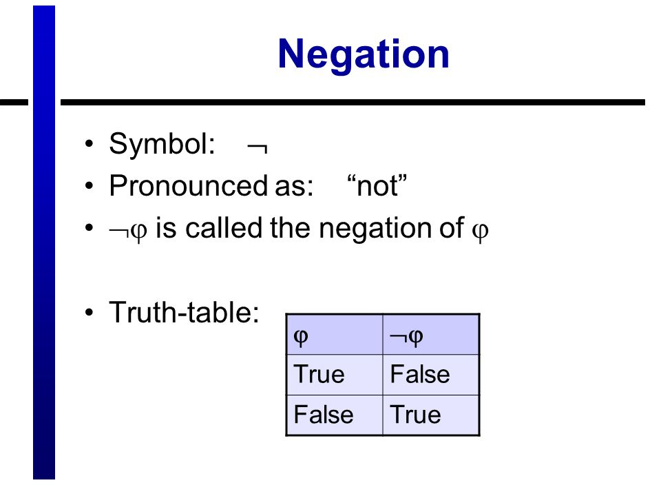 Negation Symbol:  Pronounced as: not  is called the negation of  Truth-table:  TrueFalse True