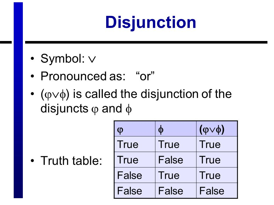Disjunction Symbol:  Pronounced as: or (  ) is called the disjunction of the disjuncts  and  Truth table:  (  ) True FalseTrue FalseTrue False