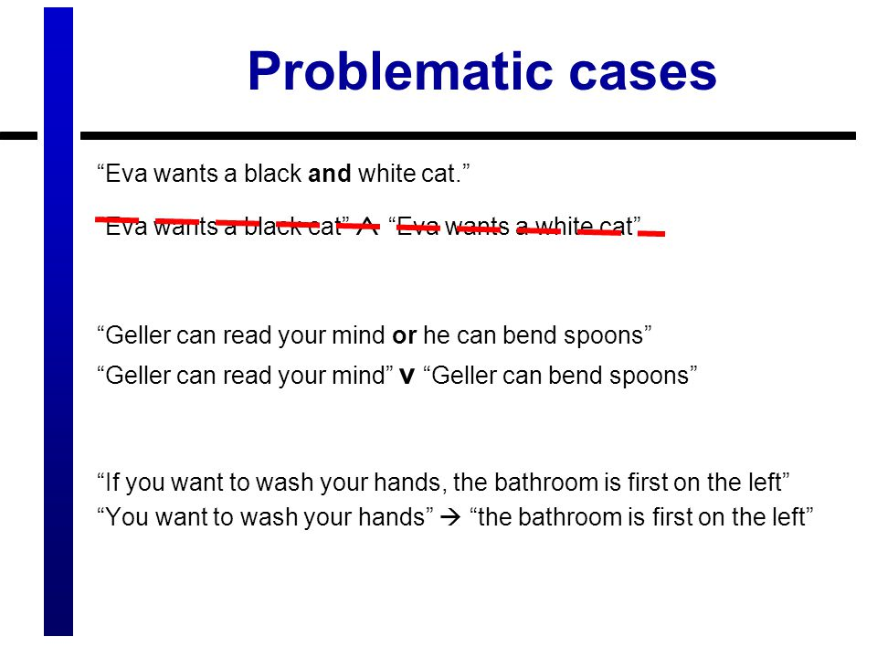 Problematic cases Eva wants a black and white cat. Eva wants a black cat  Eva wants a white cat Geller can read your mind or he can bend spoons Geller can read your mind v Geller can bend spoons If you want to wash your hands, the bathroom is first on the left You want to wash your hands  the bathroom is first on the left