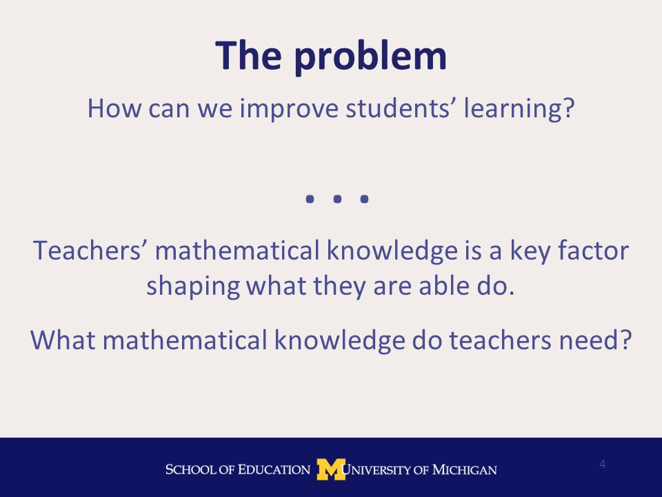Different questions From teacher knowledge to knowledge for teaching: 1.What mathematics do teachers need to know.