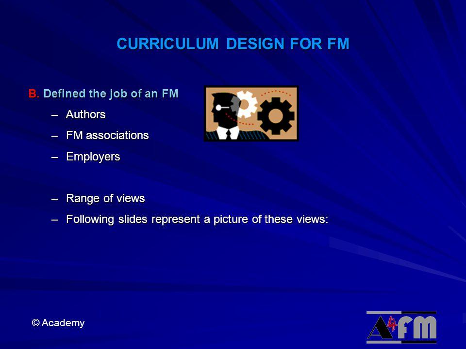 © Academy CURRICULUM DESIGN FOR FM B.