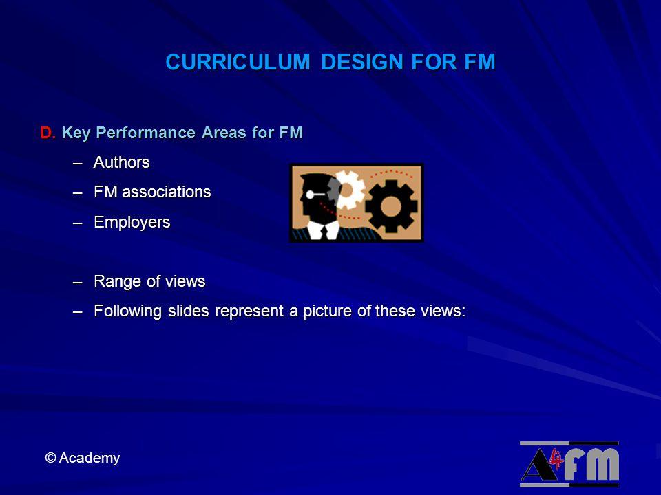 © Academy CURRICULUM DESIGN FOR FM D.