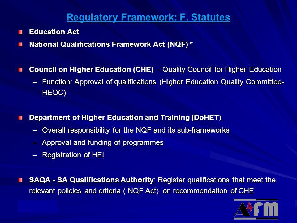 © Academy Regulatory Framework: F.
