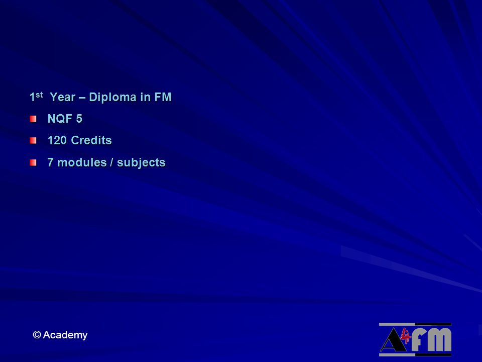 © Academy 1 st Year – Diploma in FM NQF 5 120 Credits 7 modules / subjects