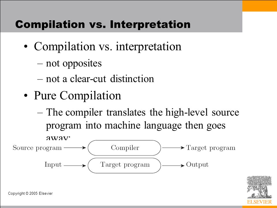 Copyright © 2005 Elsevier An Overview of Compilation Lexical and Syntax Analysis –Context-Free Grammar and Parsing Parsing organizes tokens into a parse tree that represents higher-level constructs in terms of their constituents Potentially recursive rules known as context-free grammar define the ways in which these constituents combine