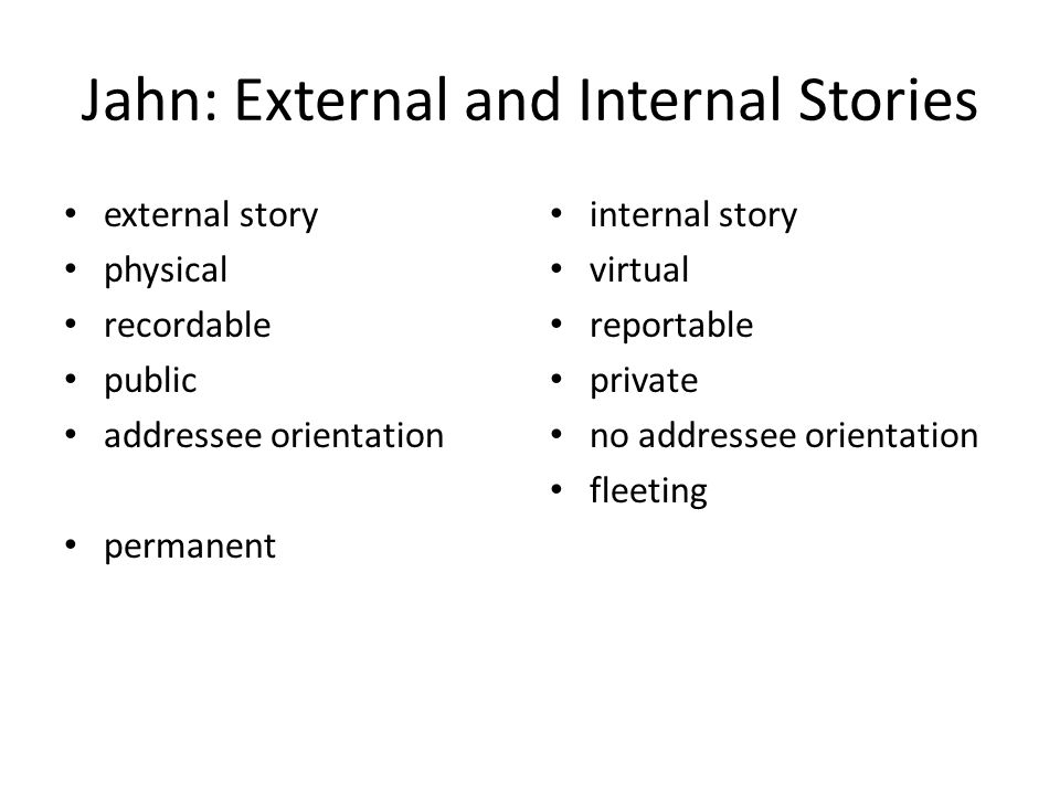 Jahn: External and Internal Stories external story physical recordable public addressee orientation permanent internal story virtual reportable private no addressee orientation fleeting