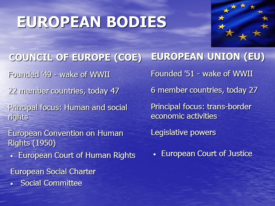 EUROPEAN COURT OF HUMAN RIGHTS & THE CONVENTION THE COURT Individual & inter-state complaints (collapsing under its success) Declatory judgments, awarding damages & costs May order general measures that change national law THE CONVENTION Human Rights Rights of association, conscience, opinion (Art.