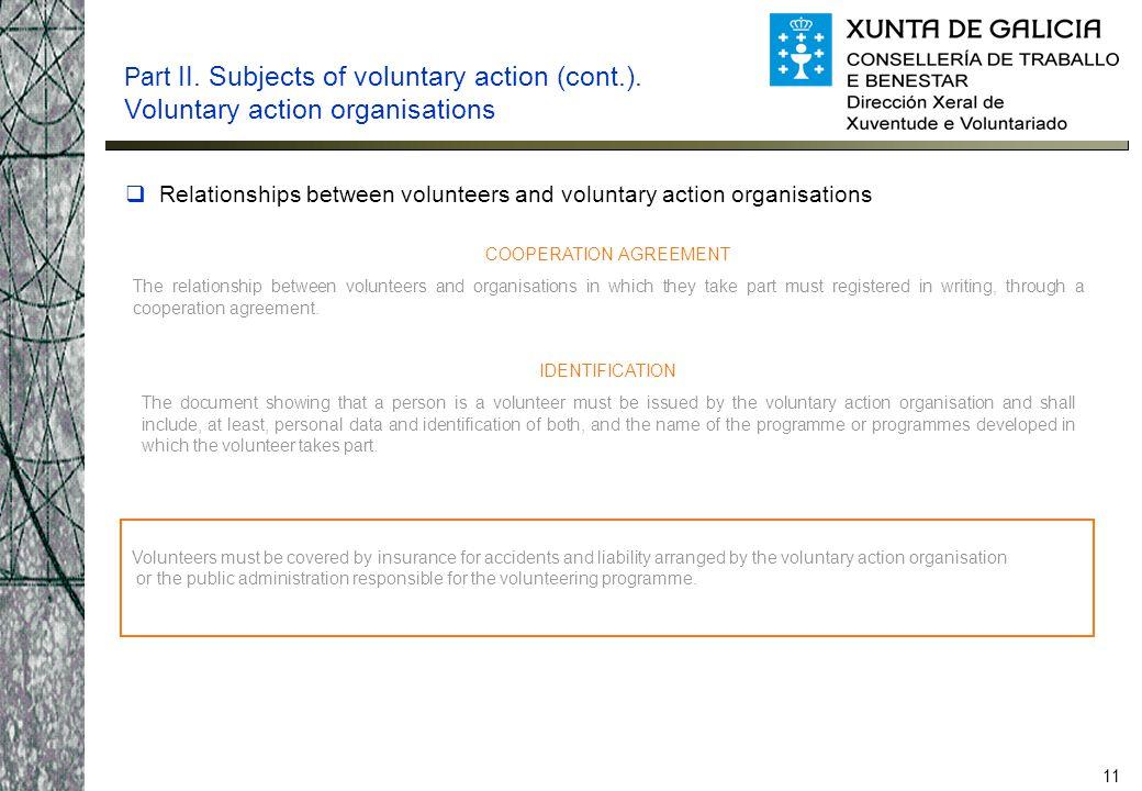 11  Relationships between volunteers and voluntary action organisations Part II.
