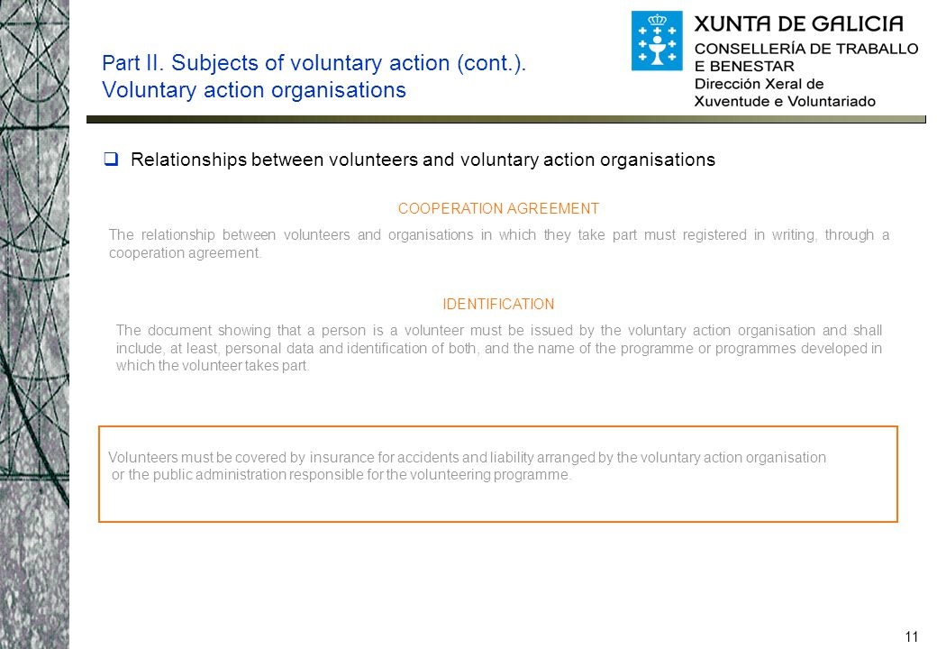 11  Relationships between volunteers and voluntary action organisations Part II. Subjects of voluntary action (cont.). Voluntary action organisations