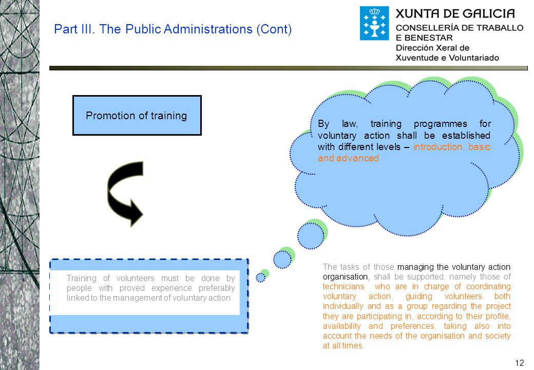 12 Promotion of training Part III. The Public Administrations (Cont) Training of volunteers must be done by people with proved experience preferably l