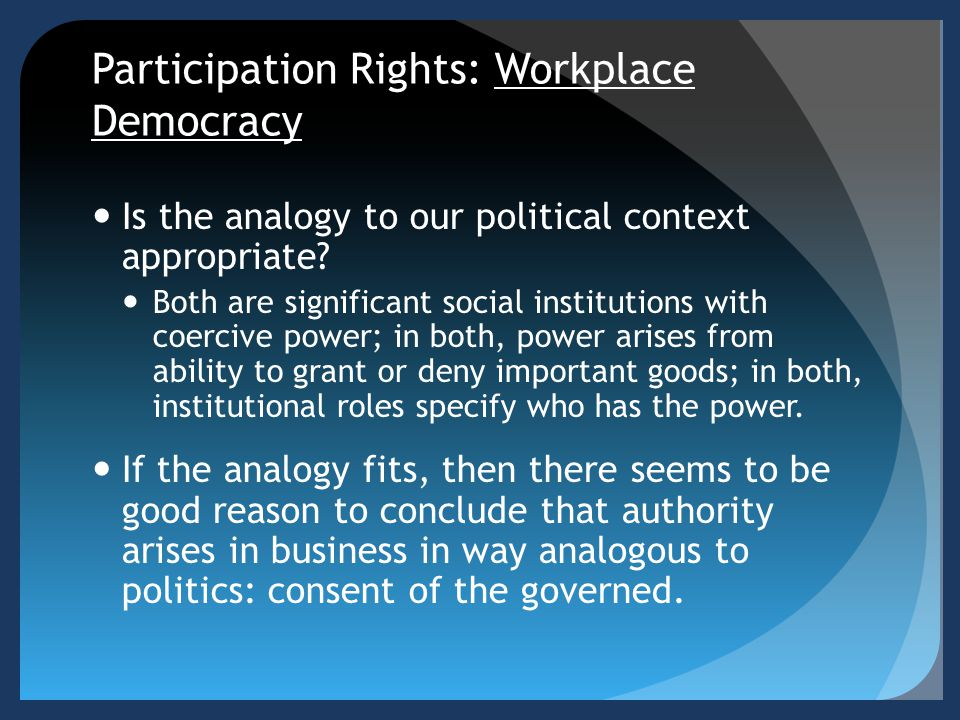 Participation Rights: Workplace Democracy Is the analogy to our political context appropriate? Both are significant social institutions with coercive
