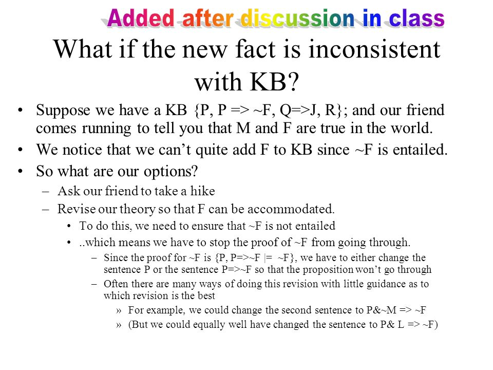 What if the new fact is inconsistent with KB.