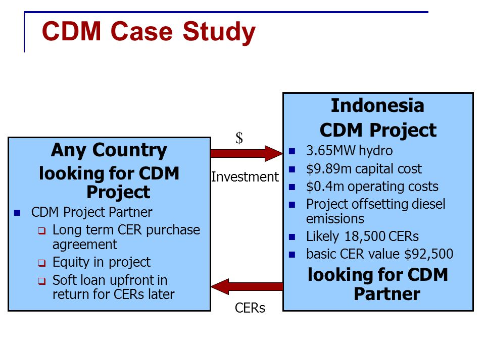 CDM Case Study Any Country looking for CDM Project CDM Project Partner  Long term CER purchase agreement  Equity in project  Soft loan upfront in return for CERs later Indonesia CDM Project 3.65MW hydro $9.89m capital cost $0.4m operating costs Project offsetting diesel emissions Likely 18,500 CERs basic CER value $92,500 looking for CDM Partner Investment CERs $