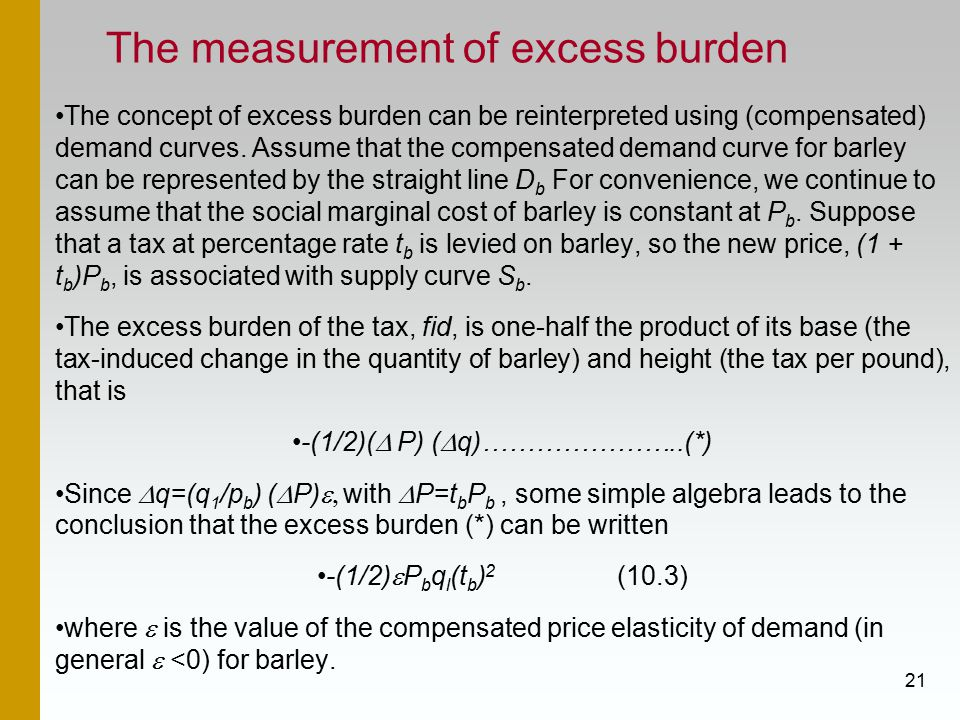 21 The measurement of excess burden The concept of excess burden can be reinterpreted using (compensated) demand curves.