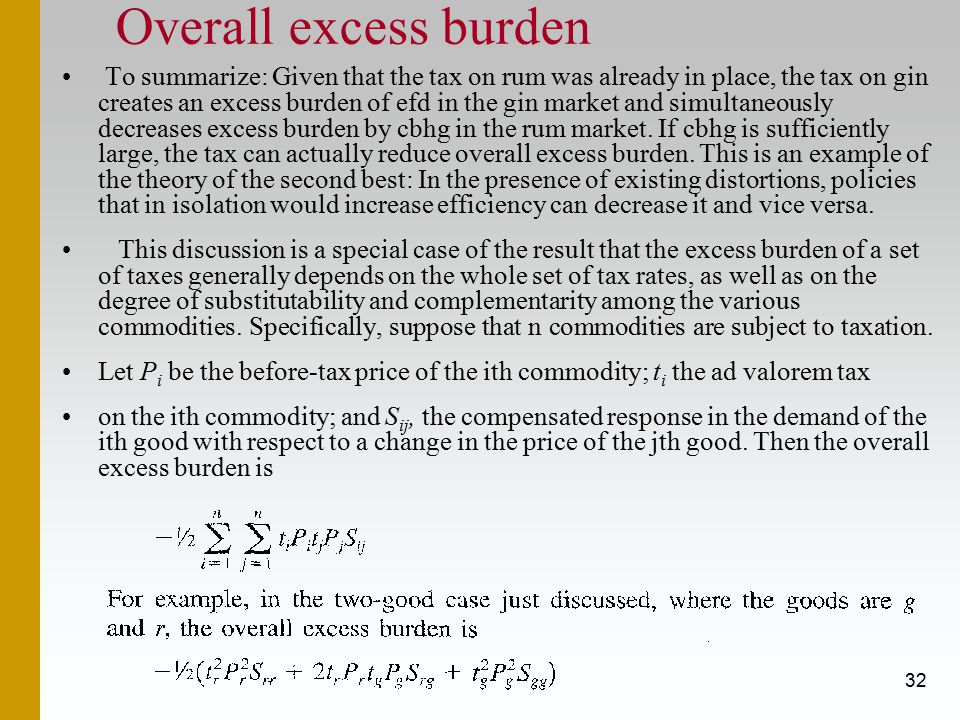 32 Overall excess burden To summarize: Given that the tax on rum was already in place, the tax on gin creates an excess burden of efd in the gin market and simultaneously decreases excess burden by cbhg in the rum market.
