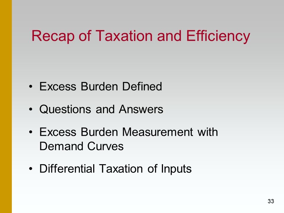 33 Recap of Taxation and Efficiency Excess Burden Defined Questions and Answers Excess Burden Measurement with Demand Curves Differential Taxation of Inputs