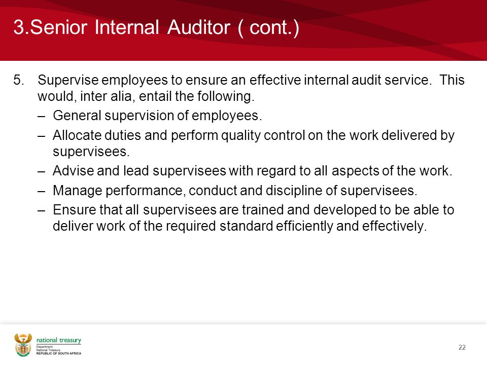 3.Senior Internal Auditor ( cont.) 5.Supervise employees to ensure an effective internal audit service.