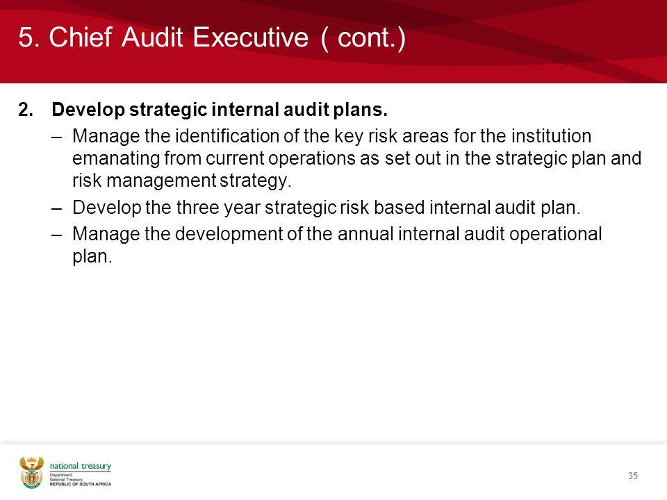 5. Chief Audit Executive ( cont.) 2.Develop strategic internal audit plans.