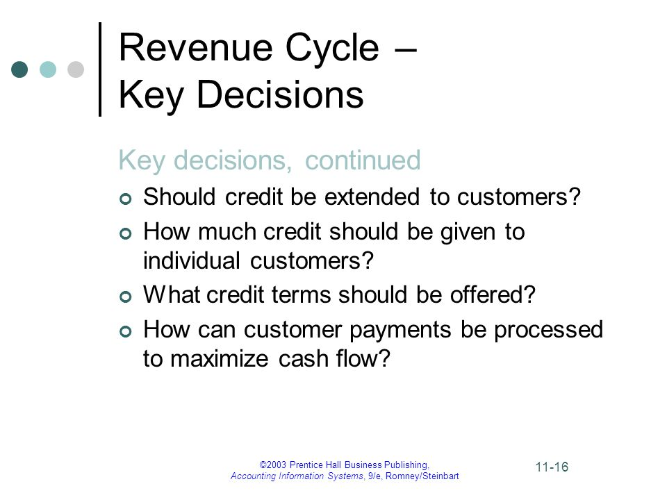 ©2003 Prentice Hall Business Publishing, Accounting Information Systems, 9/e, Romney/Steinbart 11-16 Revenue Cycle – Key Decisions Key decisions, continued Should credit be extended to customers.