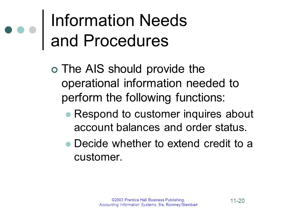 ©2003 Prentice Hall Business Publishing, Accounting Information Systems, 9/e, Romney/Steinbart 11-20 Information Needs and Procedures The AIS should provide the operational information needed to perform the following functions: Respond to customer inquires about account balances and order status.