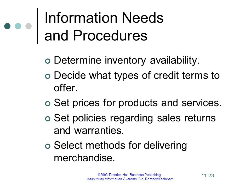 ©2003 Prentice Hall Business Publishing, Accounting Information Systems, 9/e, Romney/Steinbart 11-23 Information Needs and Procedures Determine inventory availability.