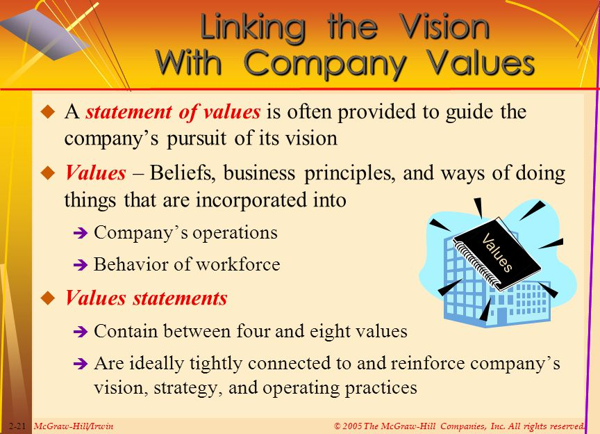 McGraw-Hill/Irwin© 2005 The McGraw-Hill Companies, Inc. All rights reserved. 2-21  A statement of values is often provided to guide the company's pur