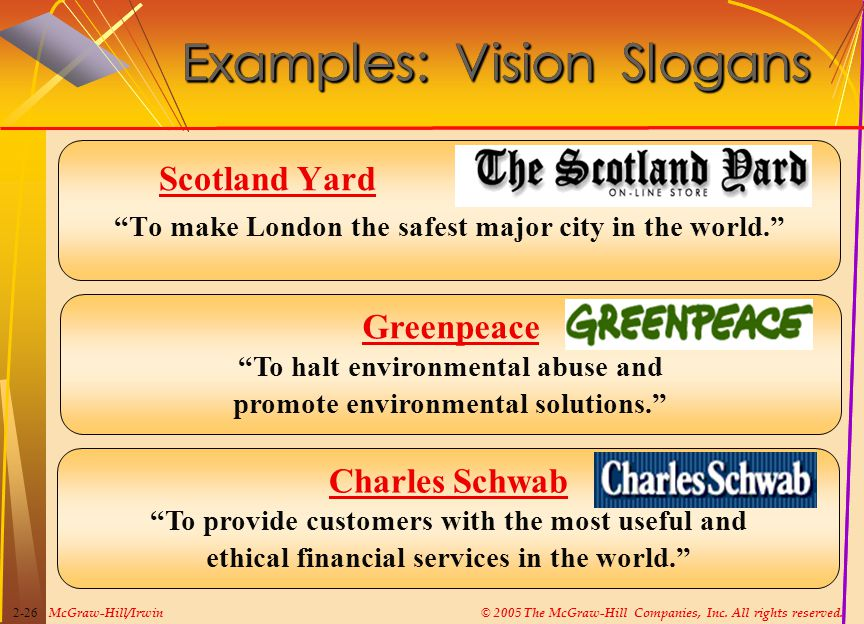 "McGraw-Hill/Irwin© 2005 The McGraw-Hill Companies, Inc. All rights reserved. 2-26 Examples: Vision Slogans Scotland Yard ""To make London the safest ma"