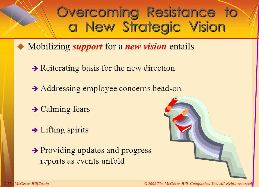 McGraw-Hill/Irwin© 2005 The McGraw-Hill Companies, Inc. All rights reserved. 2-27 Overcoming Resistance to a New Strategic Vision  Mobilizing support