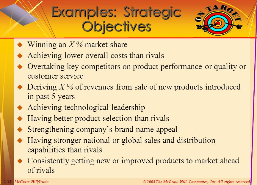McGraw-Hill/Irwin© 2005 The McGraw-Hill Companies, Inc. All rights reserved. 2-35  Winning an X % market share  Achieving lower overall costs than r