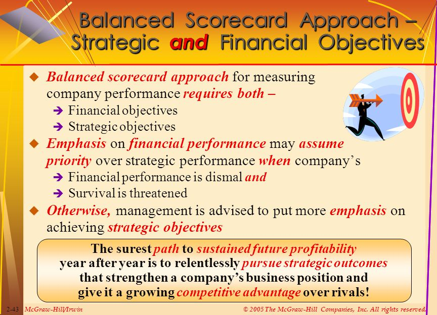 McGraw-Hill/Irwin© 2005 The McGraw-Hill Companies, Inc. All rights reserved. 2-43 Balanced Scorecard Approach – Strategic and Financial Objectives  B