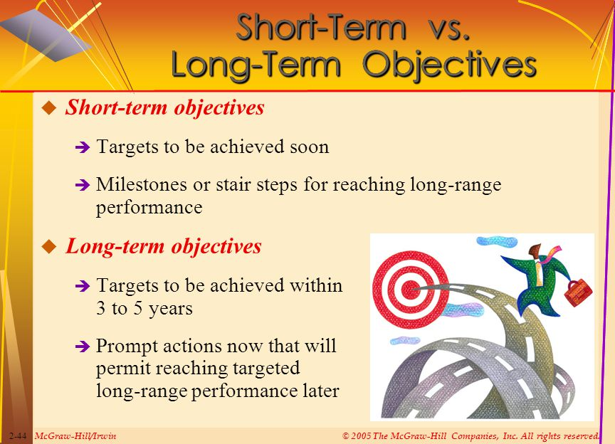 McGraw-Hill/Irwin© 2005 The McGraw-Hill Companies, Inc. All rights reserved. 2-44 Short-Term vs. Long-Term Objectives  Short-term objectives  Target
