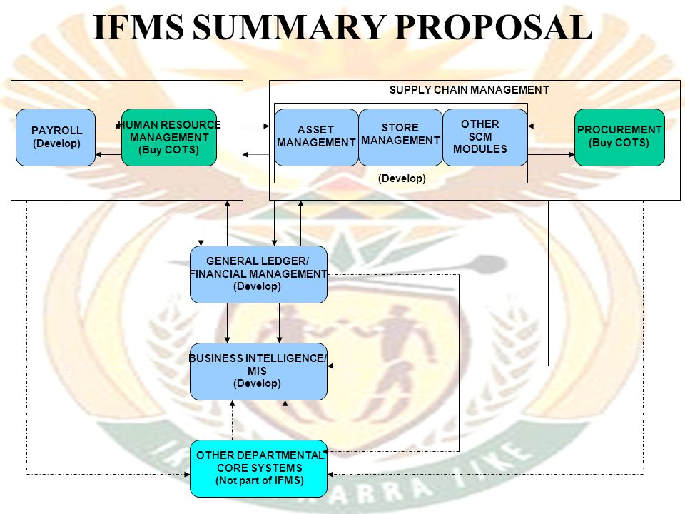 IFMS SUMMARY PROPOSAL PAYROLL (Develop) HUMAN RESOURCE MANAGEMENT (Buy COTS) ASSET MANAGEMENT STORE MANAGEMENT OTHER SCM MODULES PROCUREMENT (Buy COTS