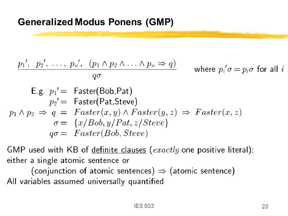 IES 503 20 Generalized Modus Ponens (GMP)