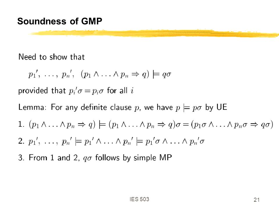 IES 503 21 Soundness of GMP
