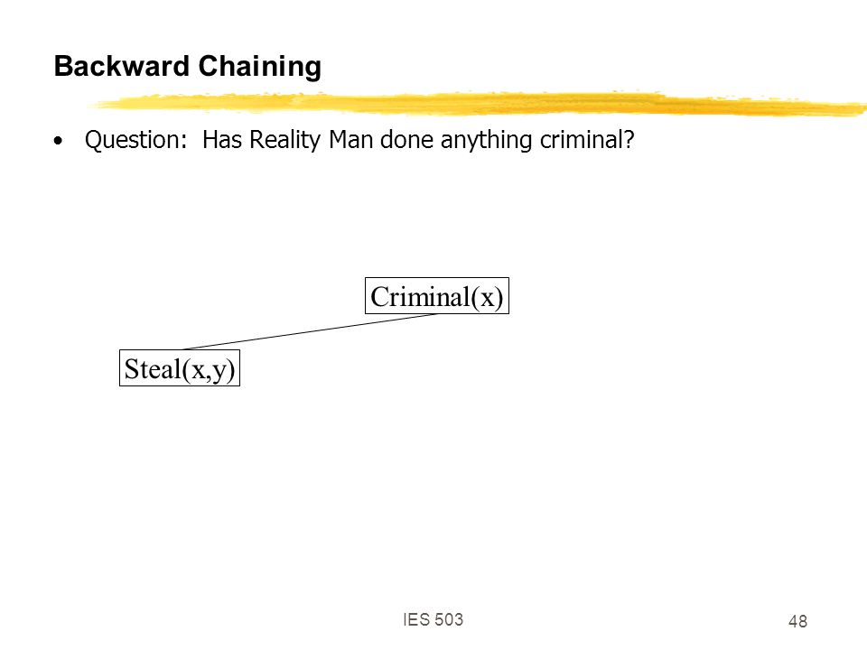 IES 503 48 Backward Chaining Question: Has Reality Man done anything criminal.