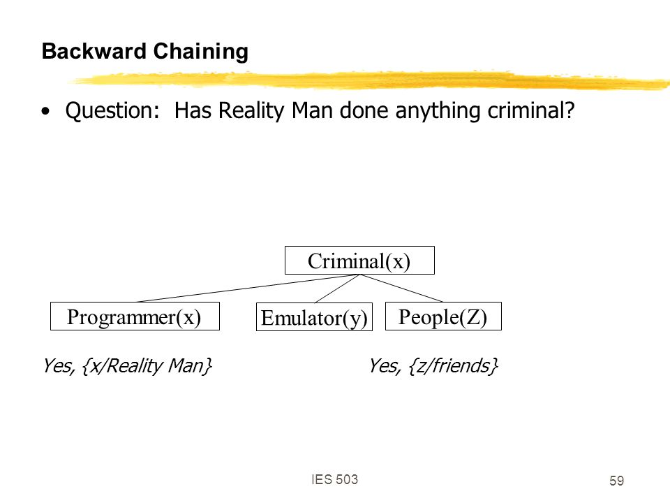 IES 503 59 Backward Chaining Question: Has Reality Man done anything criminal.