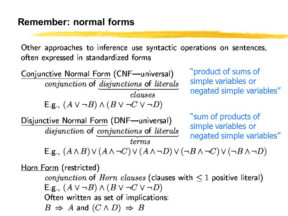 IES 503 75 Remember: normal forms sum of products of simple variables or negated simple variables product of sums of simple variables or negated simple variables