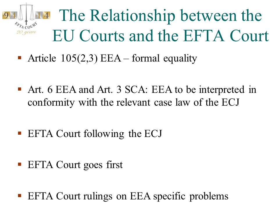 The Relationship between the EU Courts and the EFTA Court  Article 105(2,3) EEA – formal equality  Art. 6 EEA and Art. 3 SCA: EEA to be interpreted