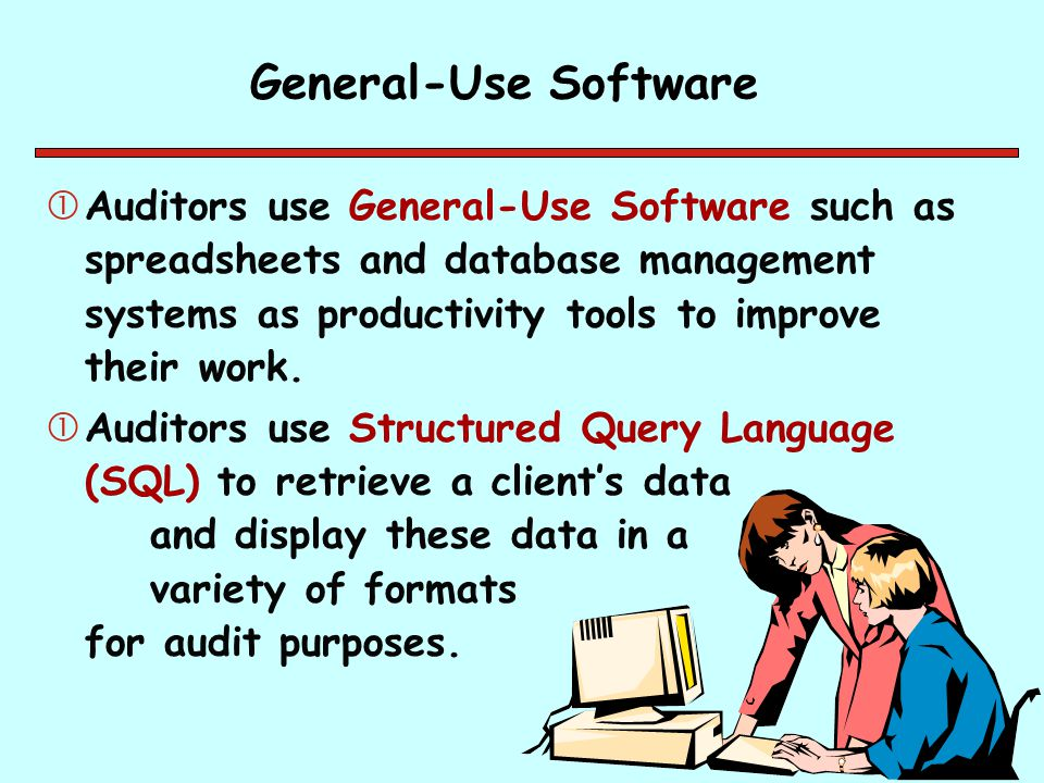 General-Use Software Auditors use General-Use Software such as spreadsheets and database management systems as productivity tools to improve their wo