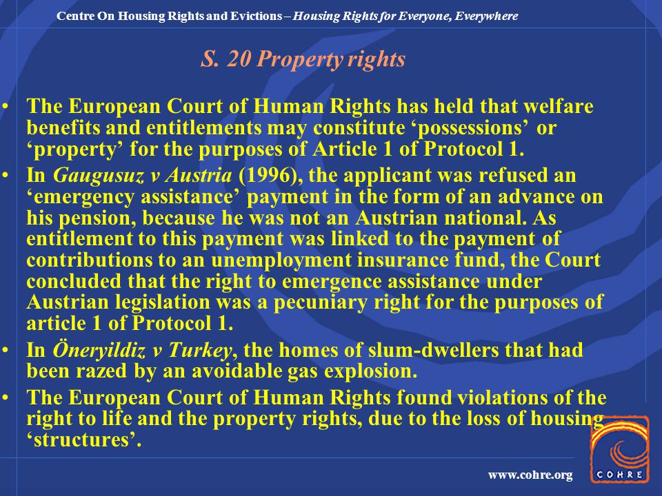 Centre On Housing Rights and Evictions – Housing Rights for Everyone, Everywhere www.cohre.org S.