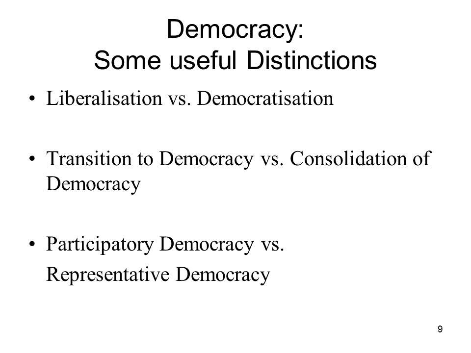9 Democracy: Some useful Distinctions Liberalisation vs. Democratisation Transition to Democracy vs. Consolidation of Democracy Participatory Democrac