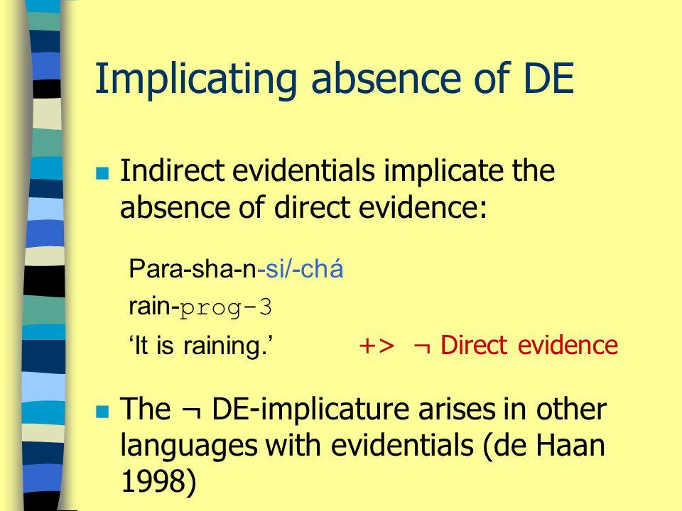 Implicating absence of DE n Indirect evidentials implicate the absence of direct evidence: Para-sha-n-si/-chá rain- prog-3 'It is raining.' +> ¬ Direc