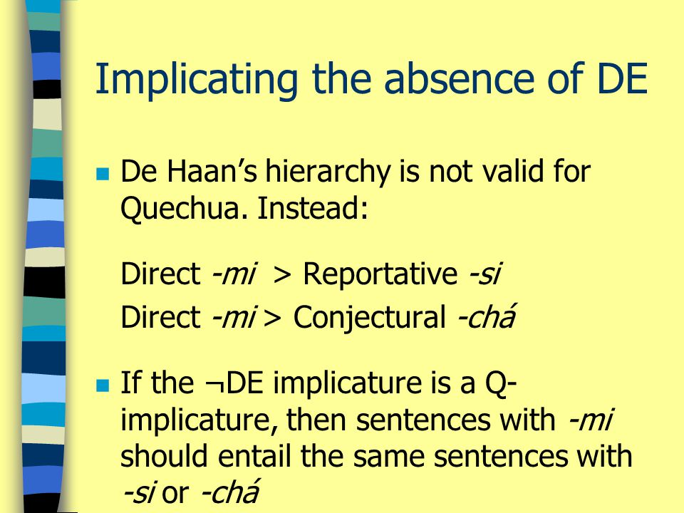 Implicating the absence of DE n De Haan's hierarchy is not valid for Quechua.